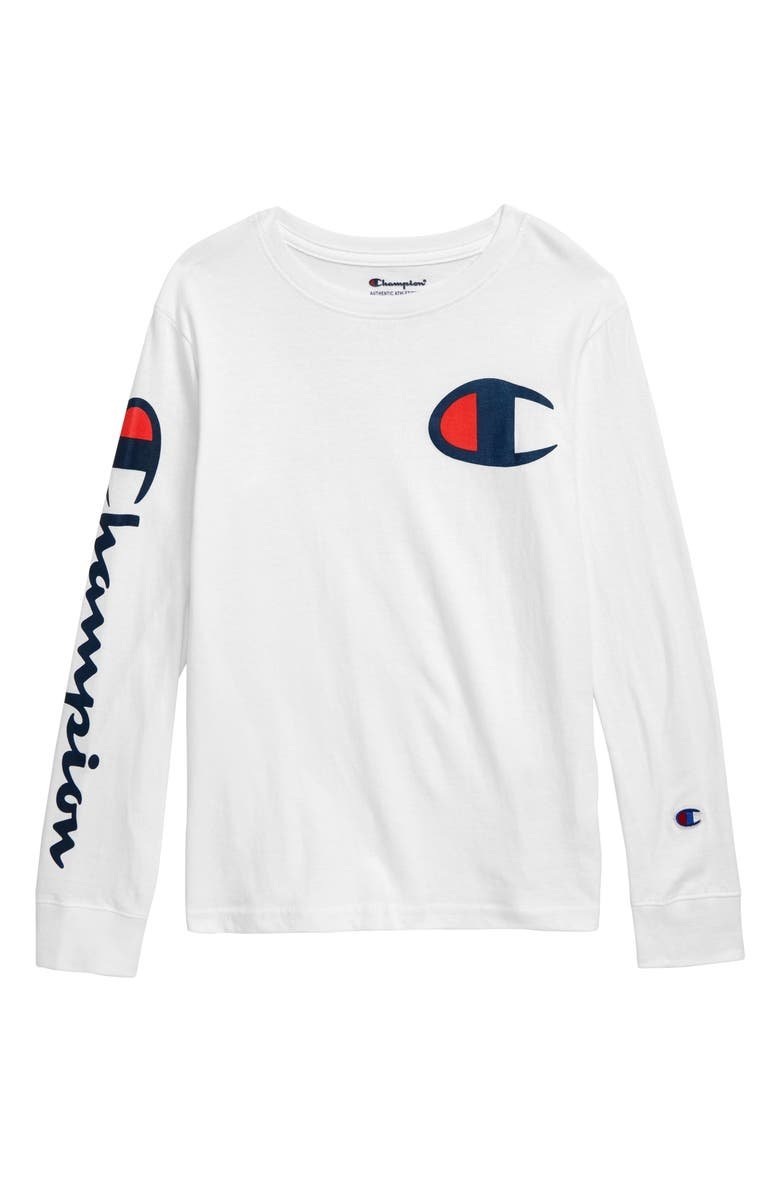 CHAMPION Script Long Sleeve Logo T-Shirt, Main, color, WHITE