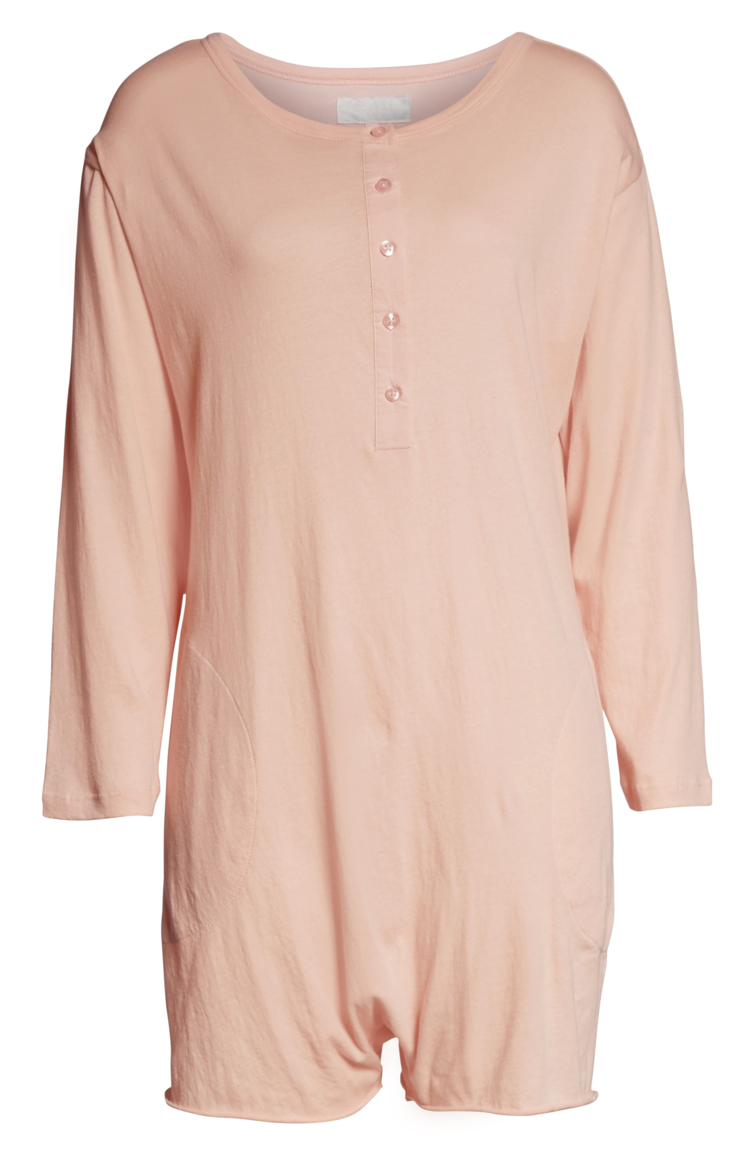 ,                             The Henley Pajama Romper,                             Alternate thumbnail 6, color,                             ROSE DUST