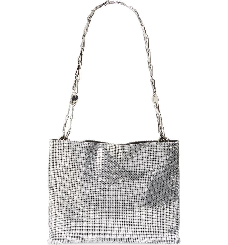 PACO RABANNE Pixel 1969 Mesh Shoulder Bag, Main, color, SILVER/ BLACK