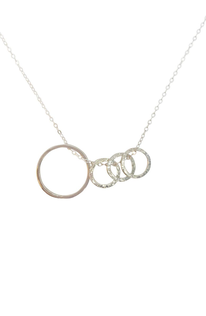 NASHELLE Identity Mama & Child 4-Hoop Necklace, Main, color, SILVER