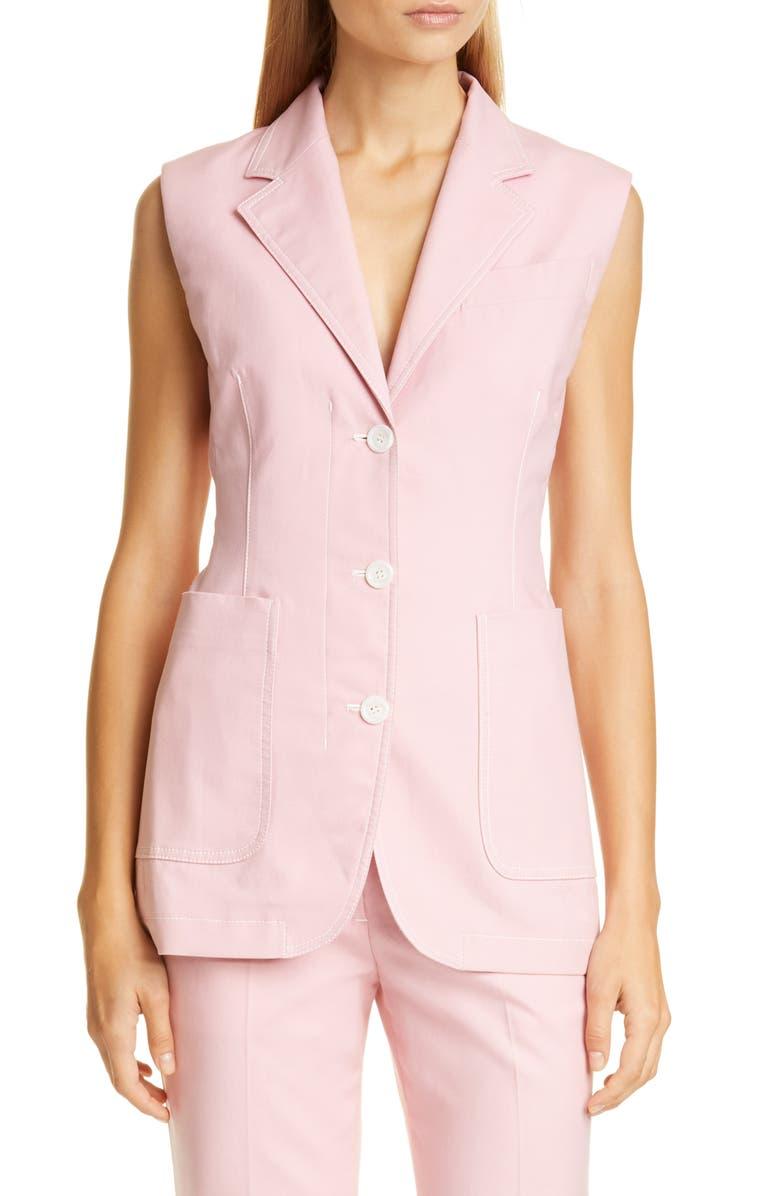 SIES MARJAN Victoria Stretch Cotton Canvas Vest, Main, color, ROSEBUD