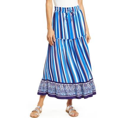 Petite Gibson X Hi Sugarplum! Portofino Tiered Midi Skirt, Blue