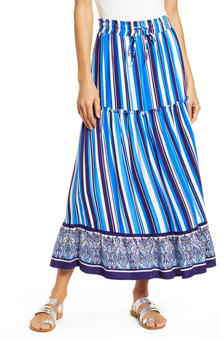 GIBSON x Hi Sugarplum! Portofino Tiered Midi Skirt, Main, color, SEA STRIPE