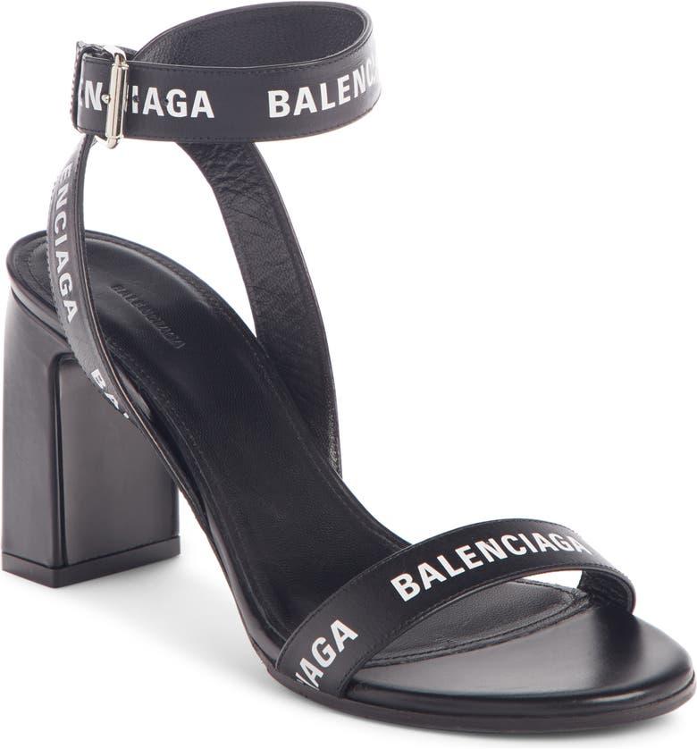 BALENCIAGA Block Heel Logo Sandal, Main, color, BLACK/ WHITE
