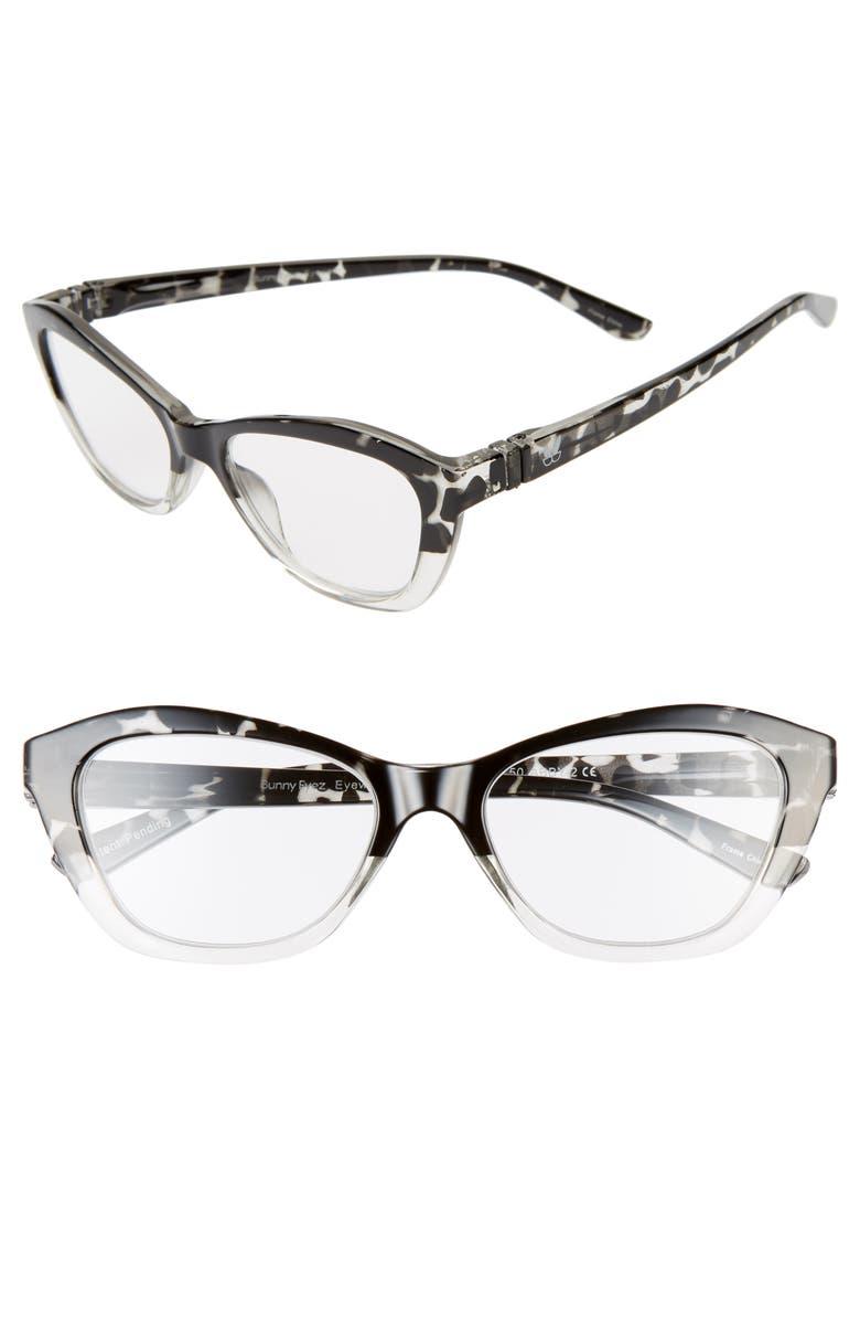 BUNNY EYEZ The Abby 51mm Cat Eye Reading Glasses, Main, color, GREY TORTOISE/ CRYSTAL