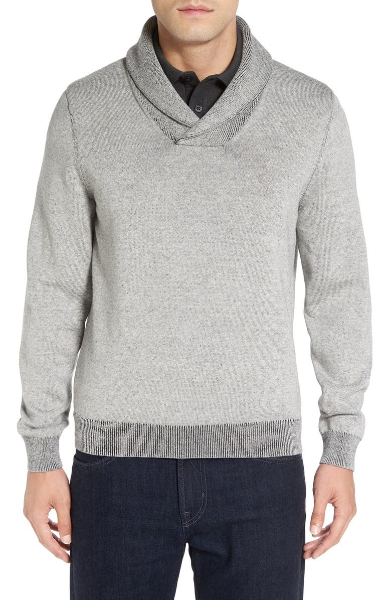 NORDSTROM MEN'S SHOP Plaited Shawl Collar Sweater, Main, color, 021