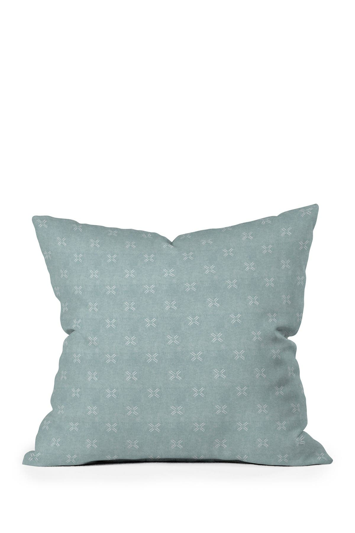 Image of Deny Designs Little Arrow Design Co Mud Cloth Cross Dusty Blue Square Throw Pillow