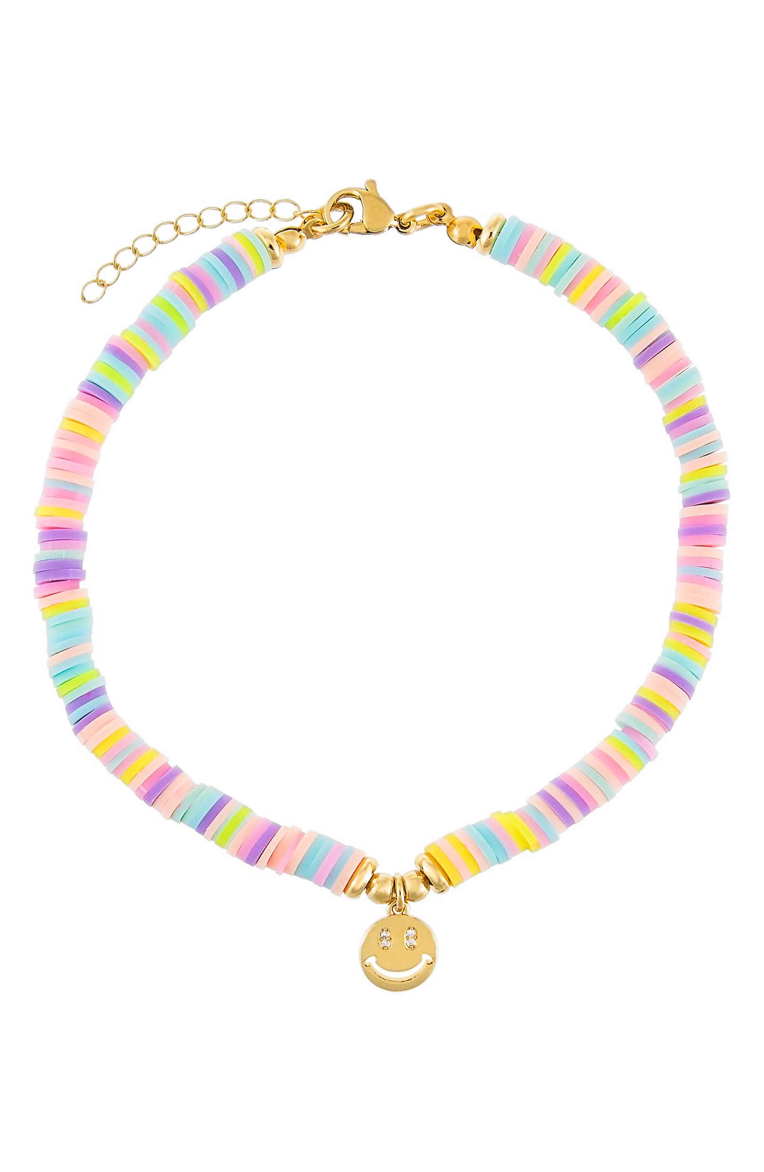 Women's Adina's Jewels Pastel Beaded Smiley Face Pendant Anklet