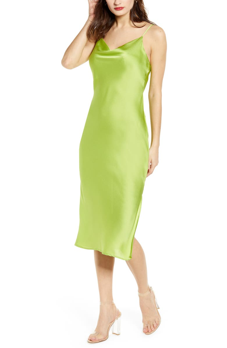 J.O.A. Midi Slipdress, Main, color, LIME