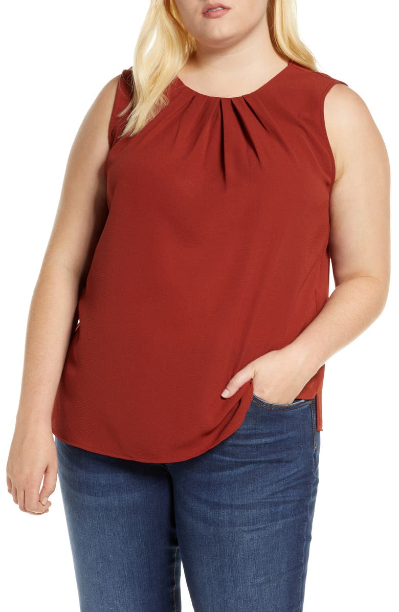 LOVEAPPELLA Gathered Neck Shell, Main, color, COGNAC