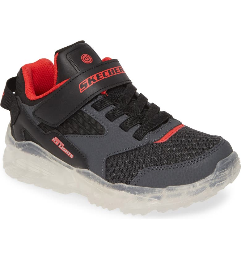 SKECHERS Ice Lights Rechargeable Light-Up Sneaker, Main, color, BLACK/ CHARCOAL/ LIME