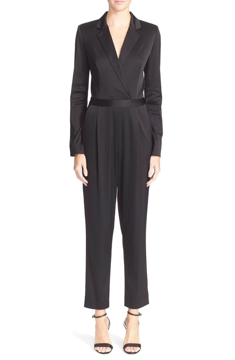 ALICE + OLIVIA 'Violetta' Tuxedo Jumpsuit, Main, color, 001