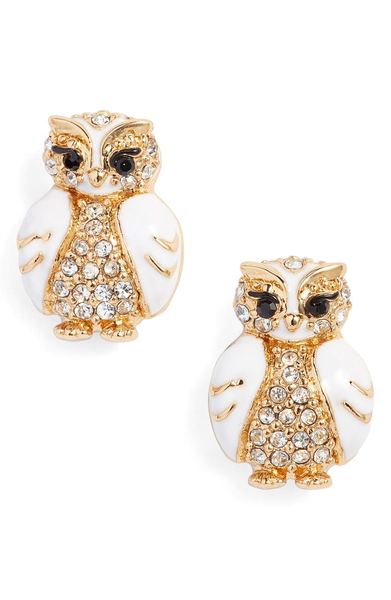 KATE SPADE NEW YORK star bright owl stud earrings, Main, color, 100