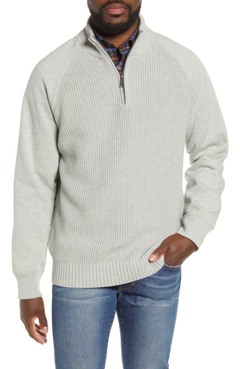 RODD & GUNN Rabbit Island Quarter Zip Pullover Sweater, Main, color, SMOKE