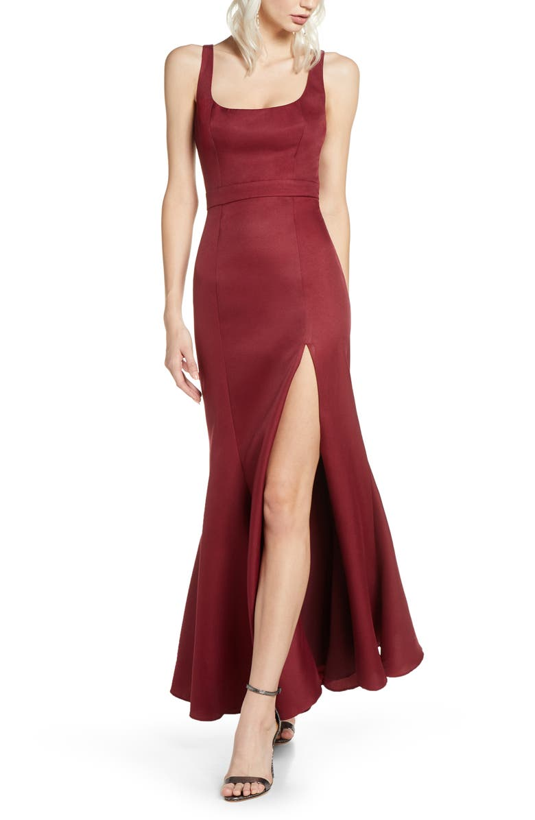 FAME AND PARTNERS Selena Mermaid Gown, Main, color, WINE