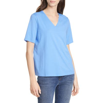 Petite Eileen Fisher V-Neck Organic Cotton Tee, Blue