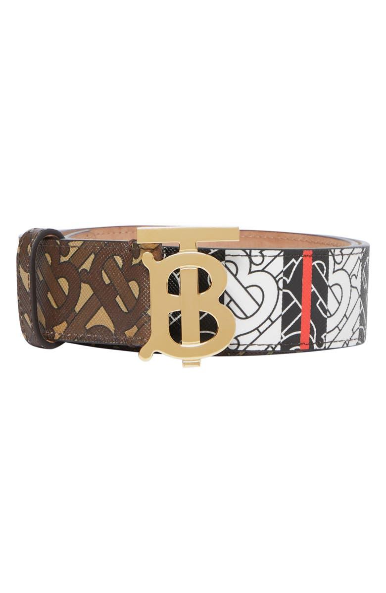BURBERRY TB Monogram Stripe Canvas Belt, Main, color, BRIDLE BROWN