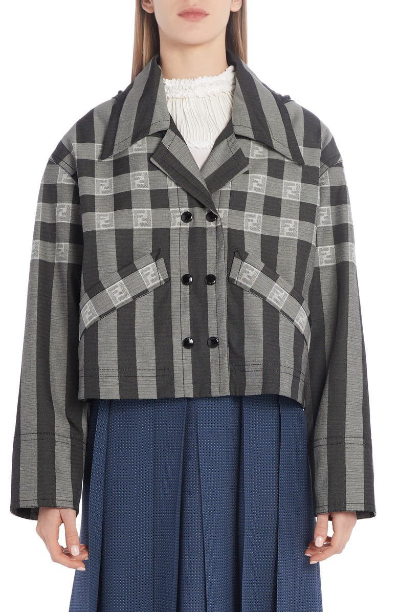 FENDI FF Logo Check & Stripe Jacquard Hooded Crop Jacket, Main, color, DRUM