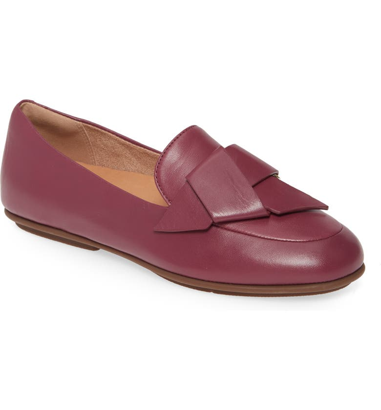 FITFLOP Lena Knot Loafer, Main, color, LINGONBERRY LEATHER