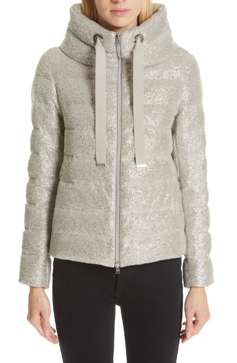 HERNO Pleat Back Quilted Down Sparkle Knit Jacket, Main, color, SILVER