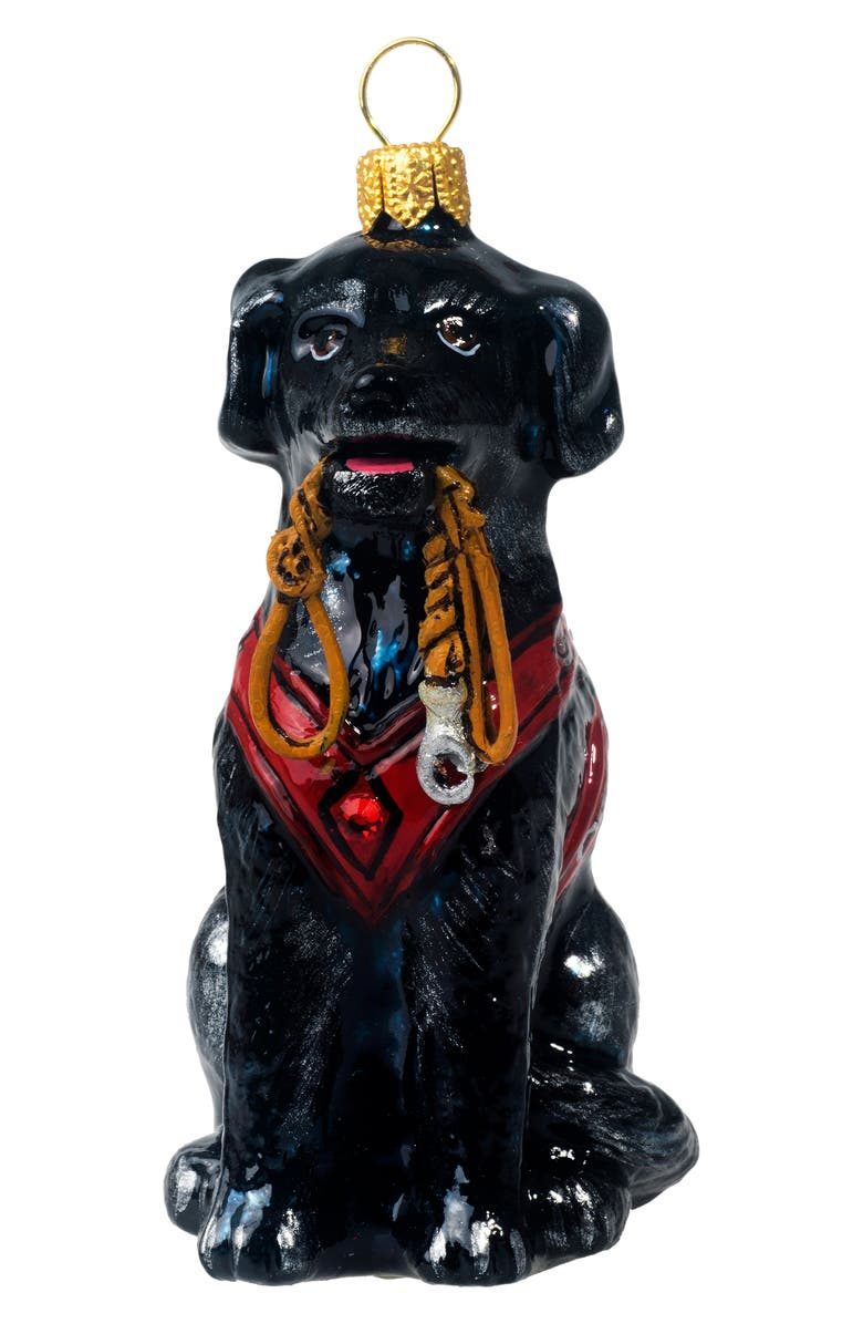 JOY TO THE WORLD COLLECTIBLES Lab with Vest & Leash Ornament, Main, color, BLACK LAB