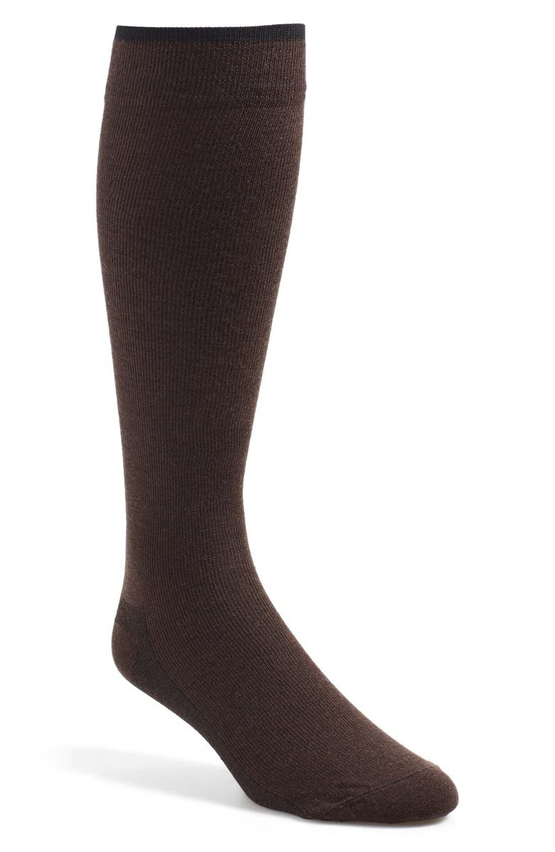 INSIGNIA BY SIGVARIS Venturist Over the Calf Dress Socks, Main, color, BROWN