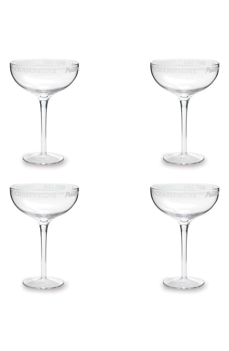 ROSANNA Set of 4 Etched Champagne Coupes, Main, color, GLASS