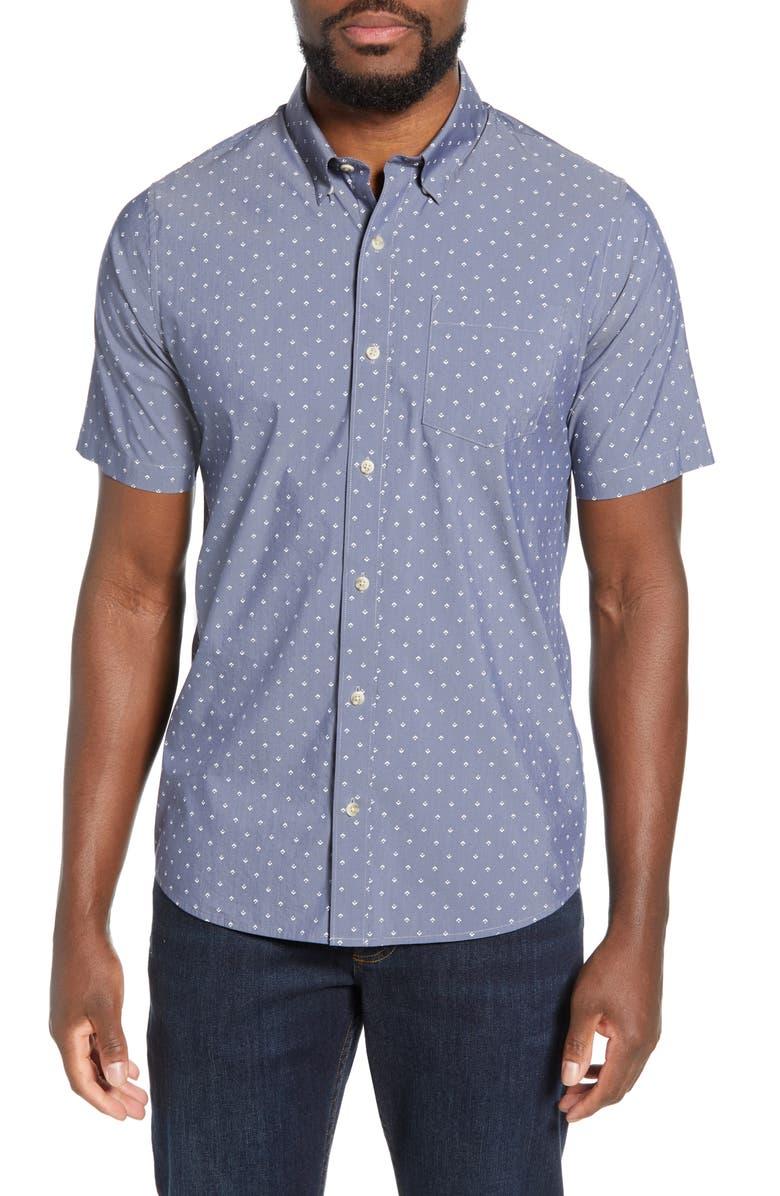 TRAVISMATHEW Tidbits Regular Fit Print Performance Sport Shirt, Main, color, HEATHER BLUE NIGHTS