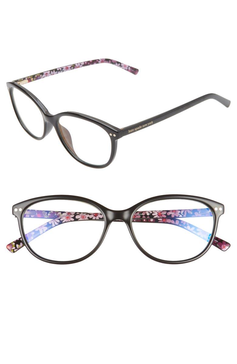 KATE SPADE NEW YORK olive 53mm reading glasses, Main, color, BLACK