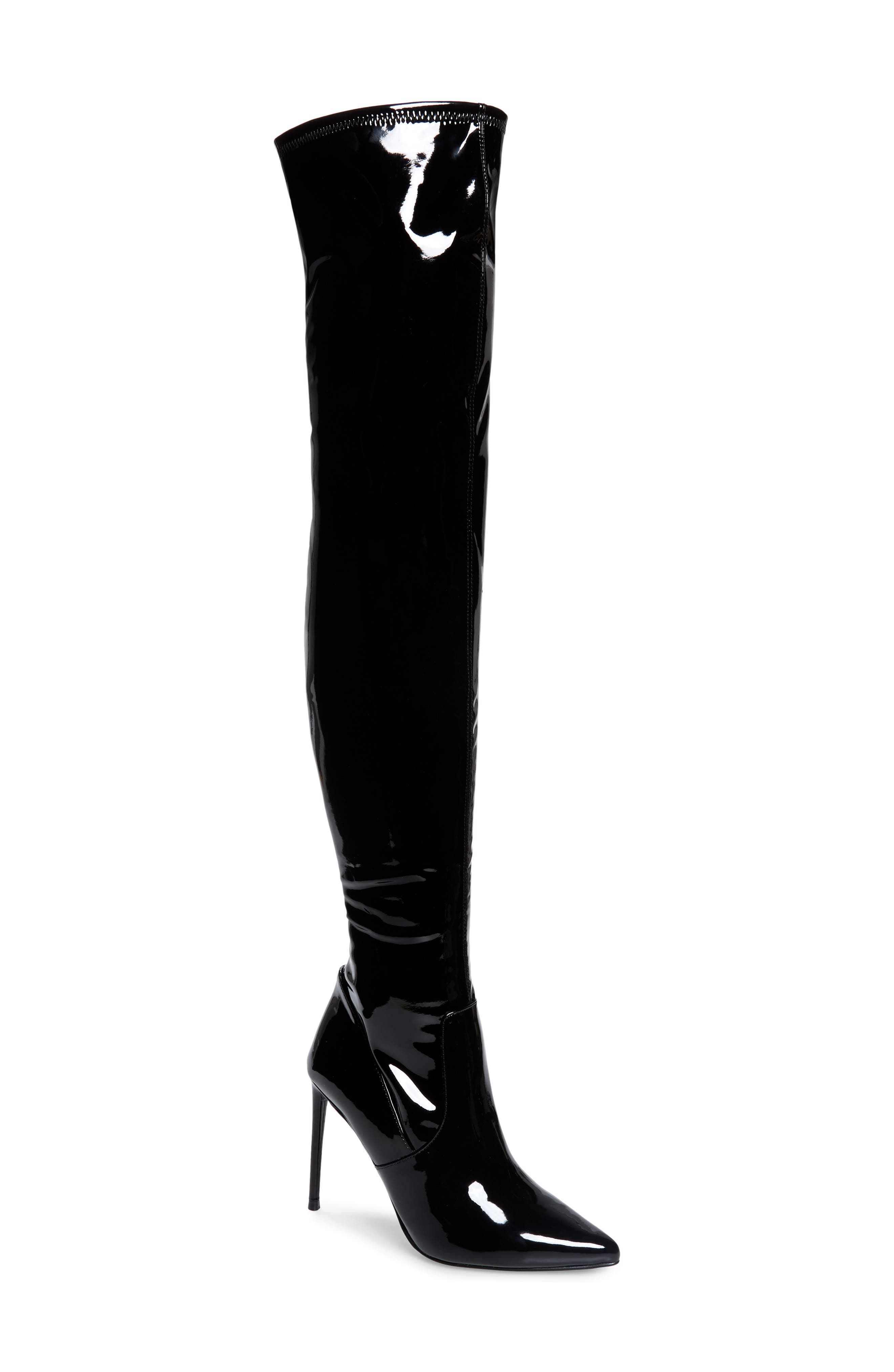 Prepare to turn heads in this pointy-toe, over-the-knee boot that looks super sleek from the stretchy topline to the towering stiletto heel. Style Name: Steve Madden Viktory Over The Knee Boot (Women). Style Number: 6094759. Available in stores.