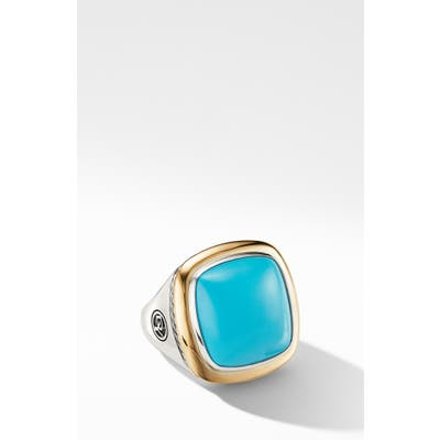 David Yurman Albion Statement Ring With 18K Gold And Champagne Citrine Or Reconstituted Turquoise