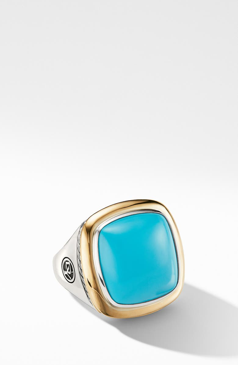 DAVID YURMAN Albion<sup>®</sup> Statement Ring with 18K Gold and Champagne Citrine or Reconstituted Turquoise, Main, color, RECONSTITUTED TURQUOISE