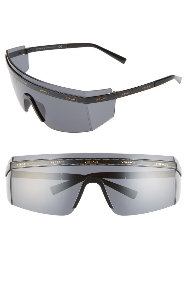 VERSACE 65mm Shield Wrap Sunglasses, Main, color, BLACK/ GOLD/ BLACK SOLID