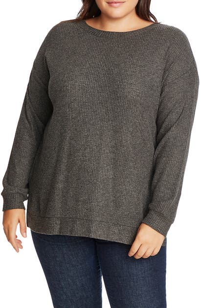 1.state Knits CROSSBACK BRUSHED WAFFLE KNIT TOP