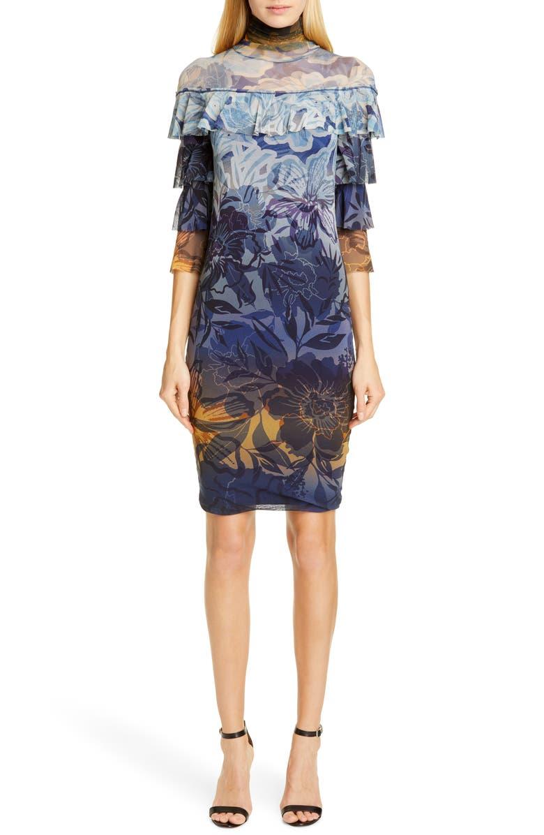 FUZZI Dégradé Floral Ruffle Sleeve Dress, Main, color, 001