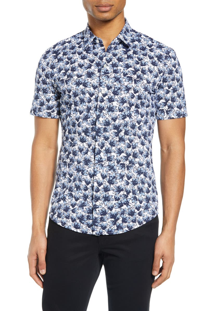 BOSS Robb Slim Fit Floral Short Sleeve Button-Up Performance Shirt, Main, color, BLUE