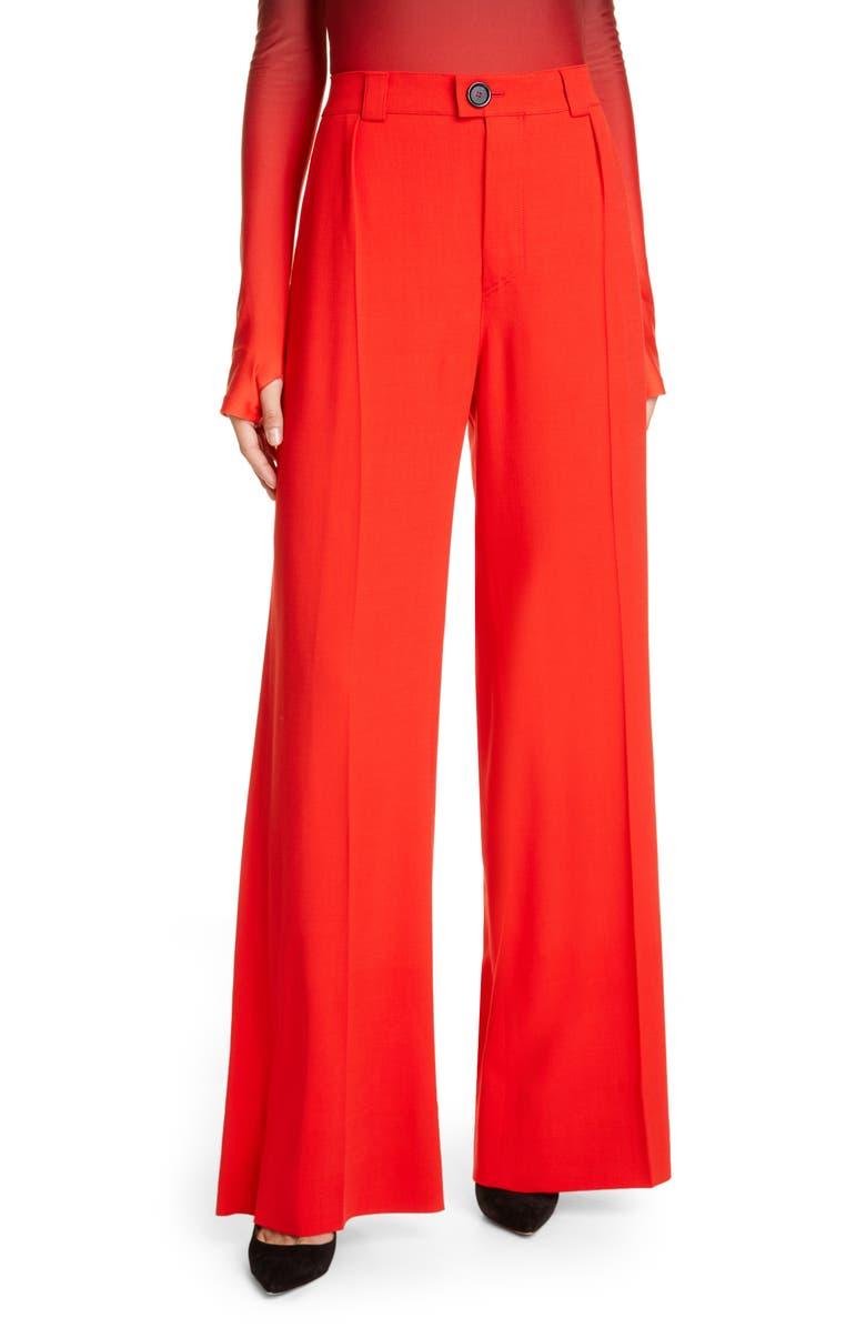 KWAIDAN EDITIONS Wide Leg Wool Blend Pants, Main, color, SCARLET RED