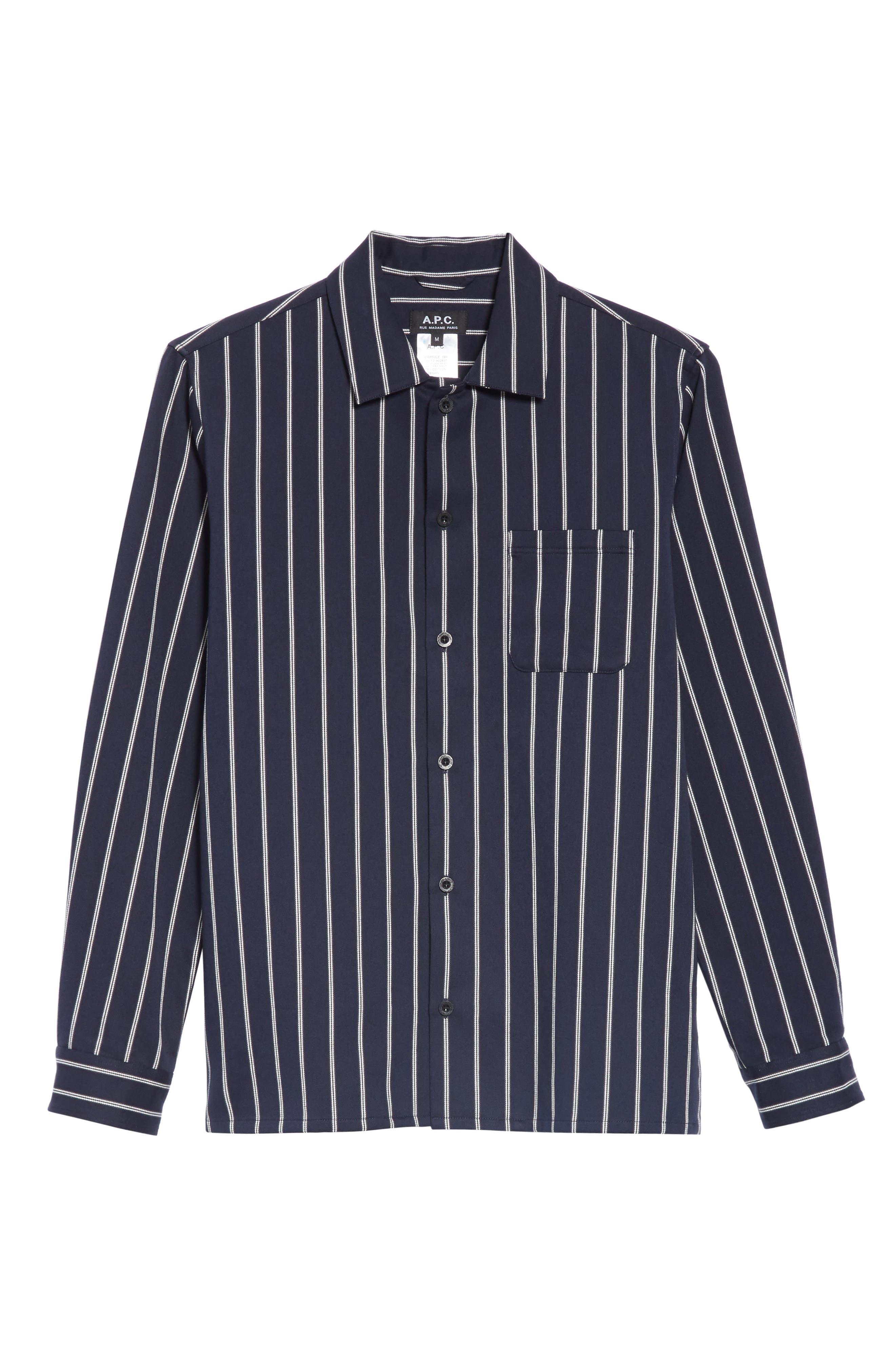 ,                             Mint Stripe Extra Slim Fit Sport Shirt,                             Alternate thumbnail 6, color,                             DARK NAVY