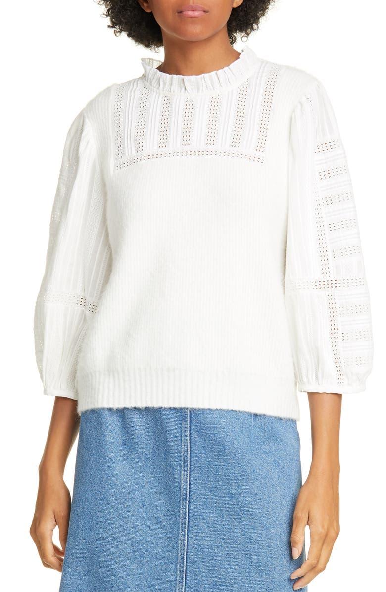 SEA Pascale Mixed Media Sweater, Main, color, CREAM