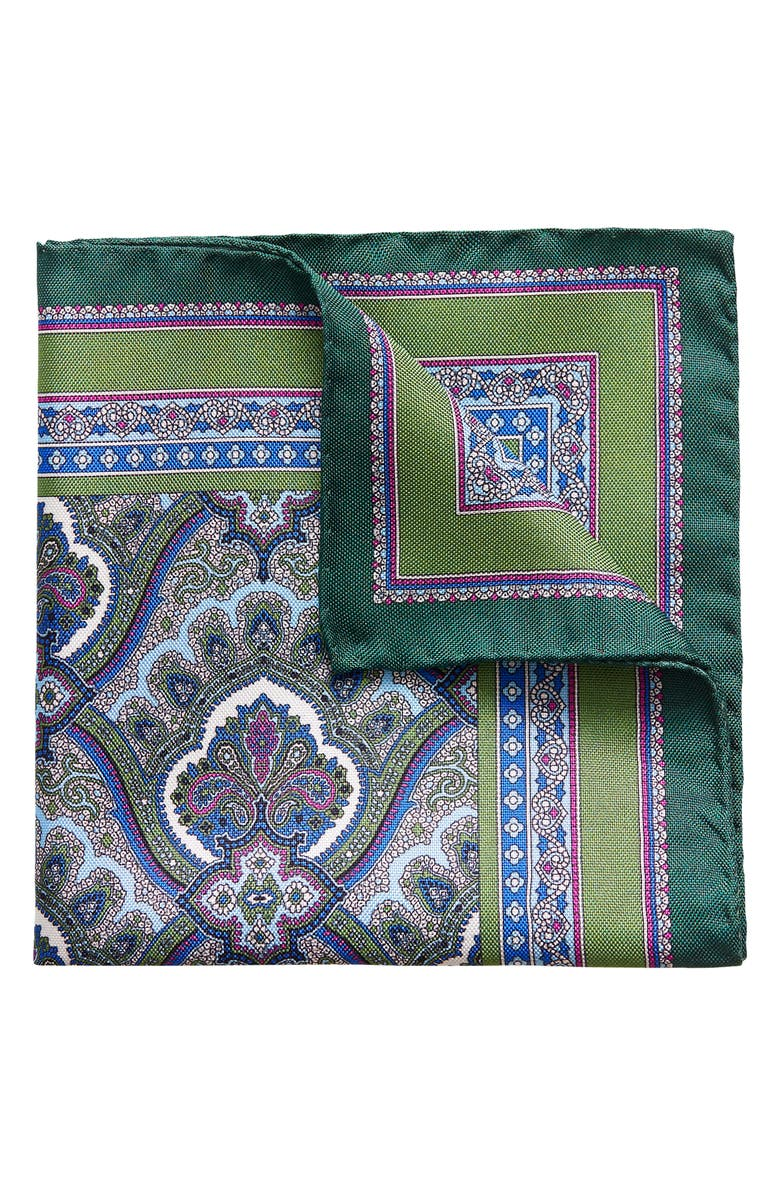 ETON Paisley Silk Pocket Square, Main, color, GREEN