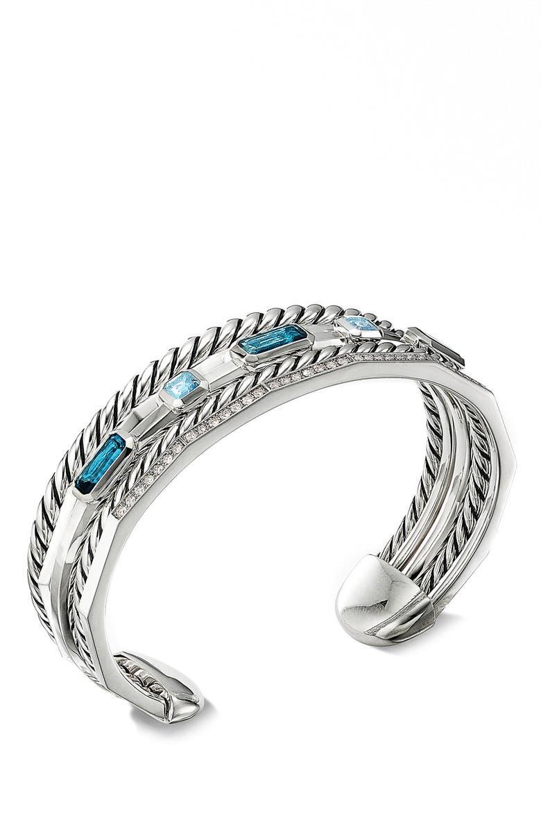 DAVID YURMAN Stax Narrow Cuff Bracelet with Hampton Blue Topaz & Diamonds, Main, color, HAMPTON BLUE TOPAZ
