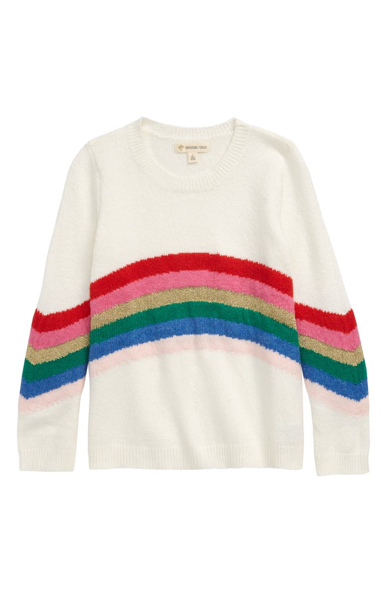 TUCKER + TATE Rainbow Stripe Sweater, Main, color, IVORY EGRET RAINBOW