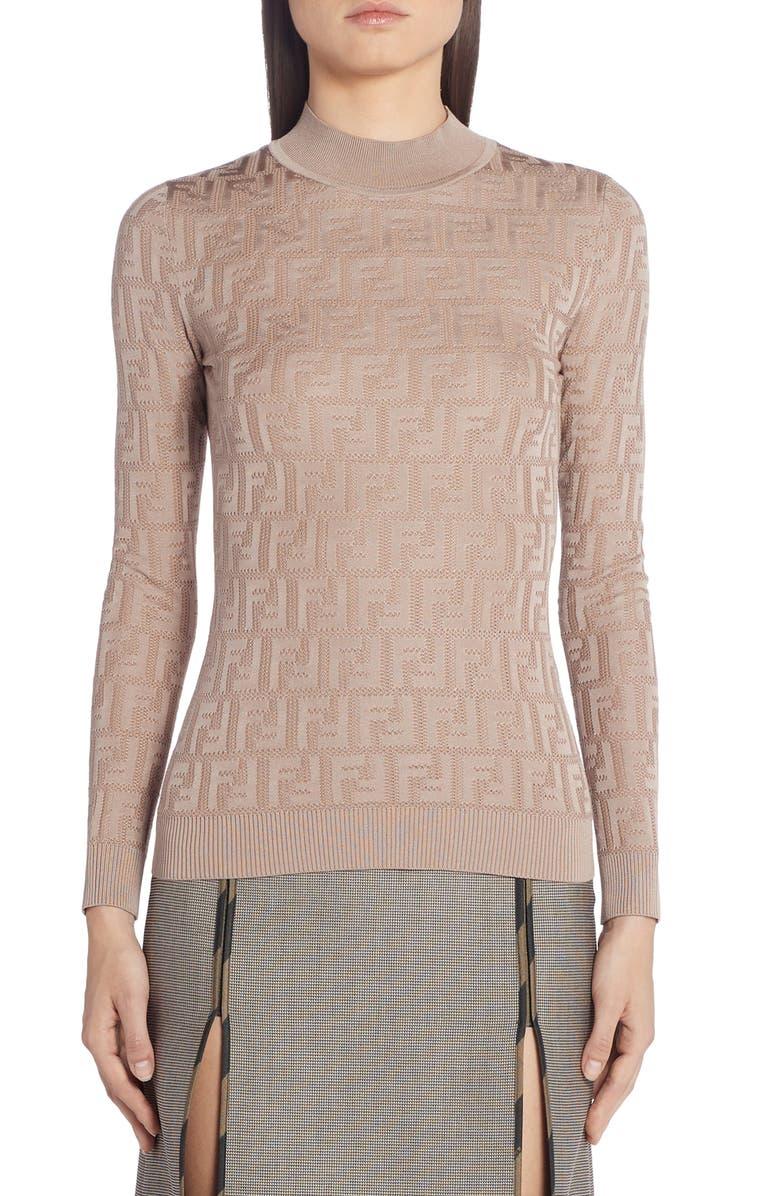 FENDI FF Logo Cotton Blend Sweater, Main, color, BEIGE