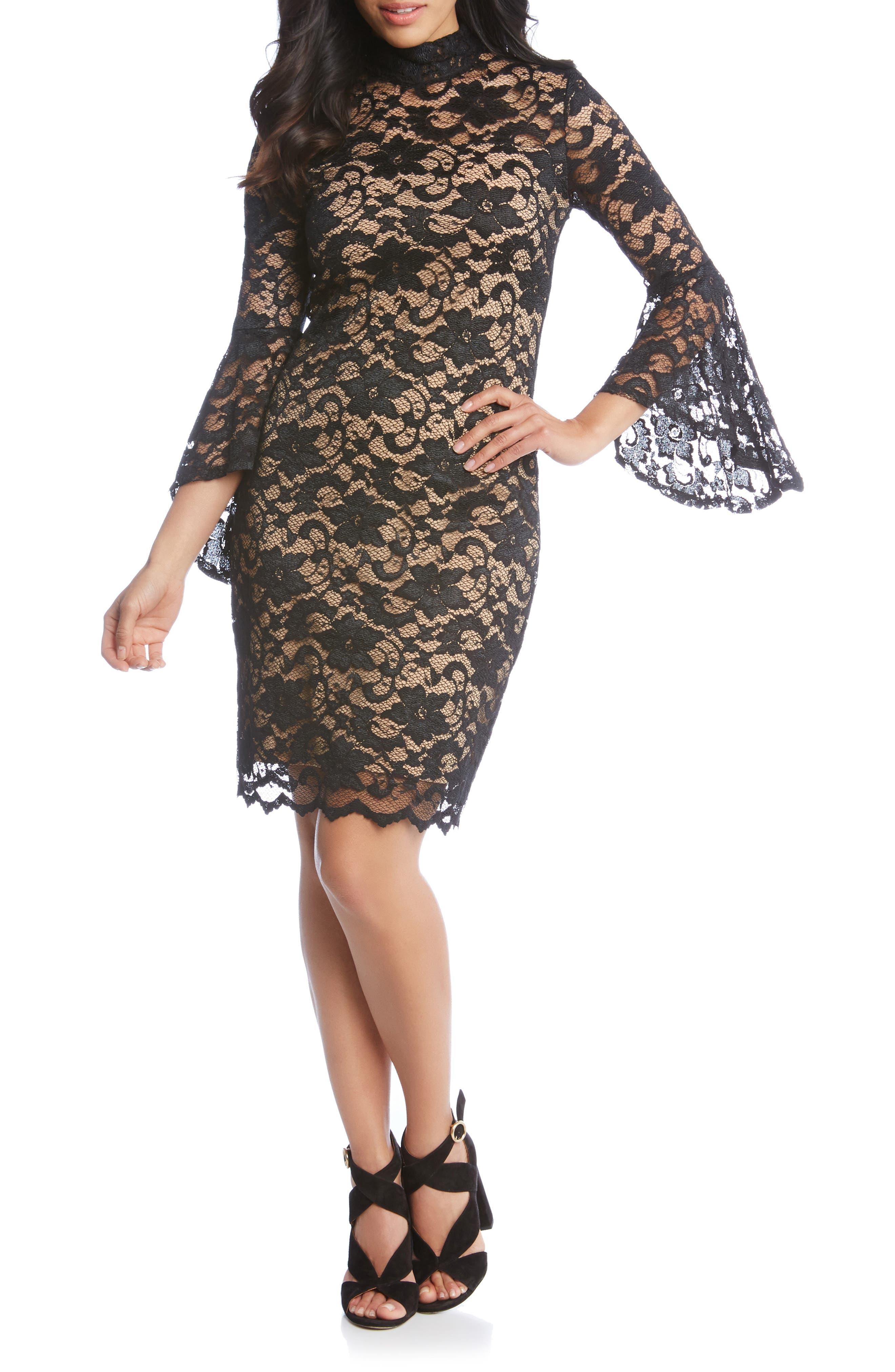 Karen Kane Laila Lace Sheath Dress, Black