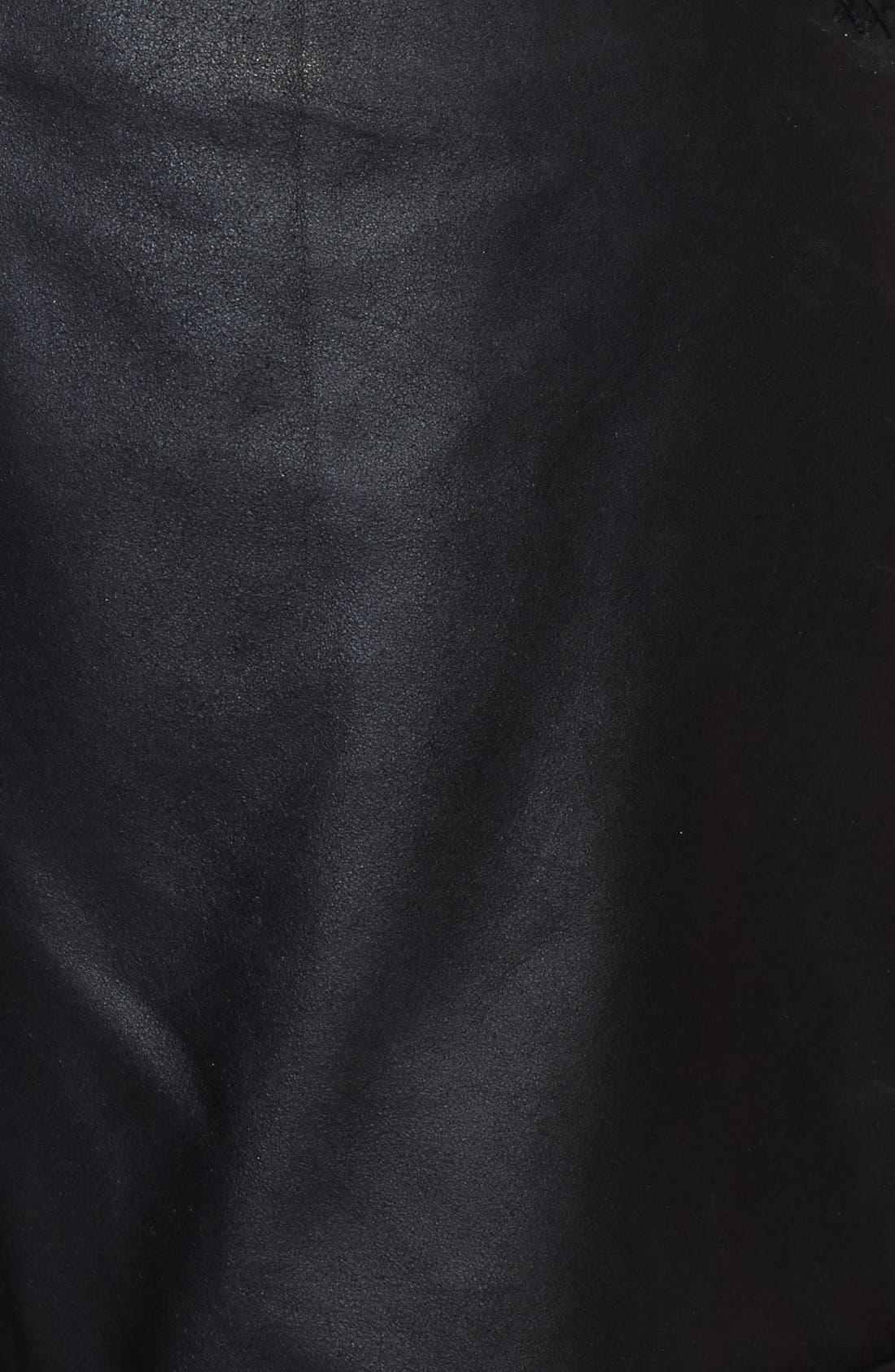 ,                             Leather Moto Shorts,                             Alternate thumbnail 3, color,                             001