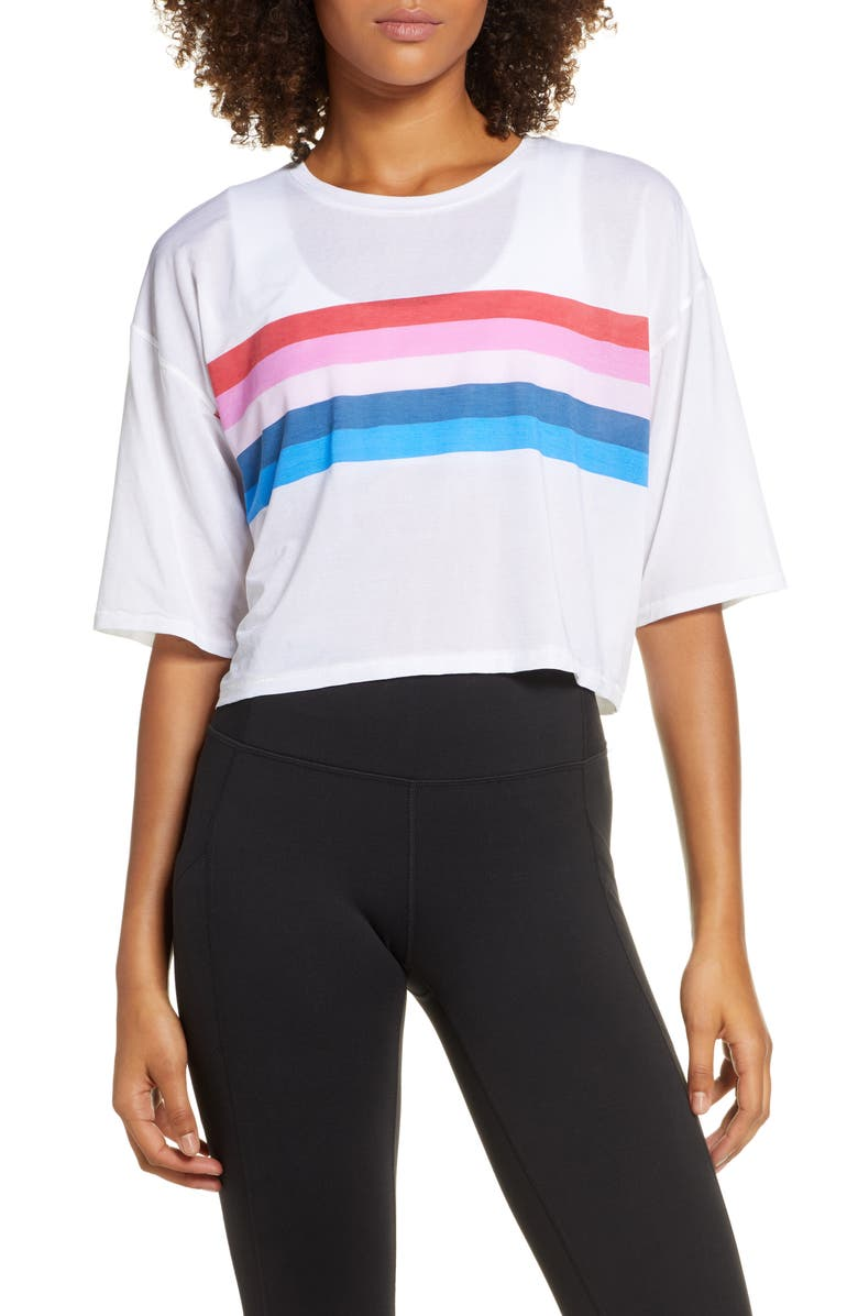 SPIRITUAL GANGSTER Rainbow Active Sessions Tee, Main, color, WHITE