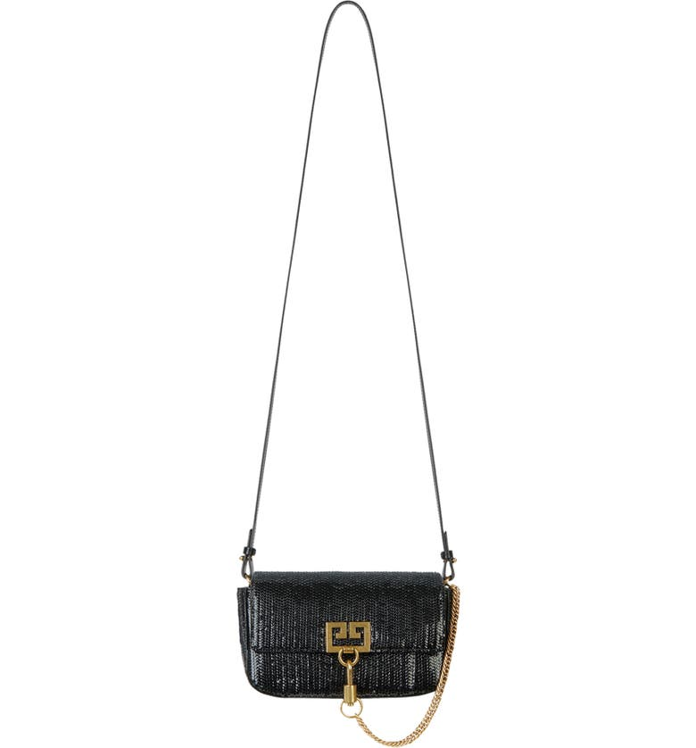 GIVENCHY Mini Pocket Woven Leather Crossbody Bag, Main, color, BLACK