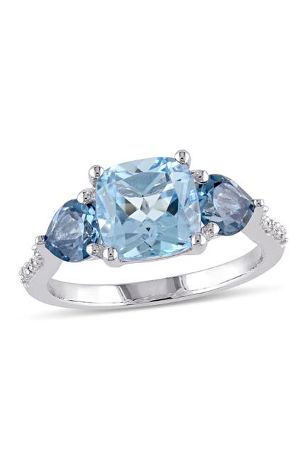 Image of Delmar Sterling Silver Prong Set Cushion Cut Sky & London Blue Topaz Diamond Accented Floral Ring