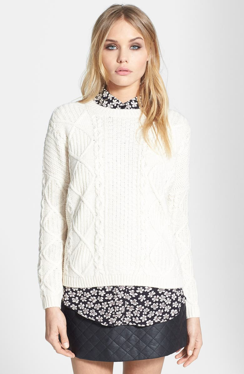 TOPSHOP Cable Knit Boxy Sweater, Main, color, CREAM