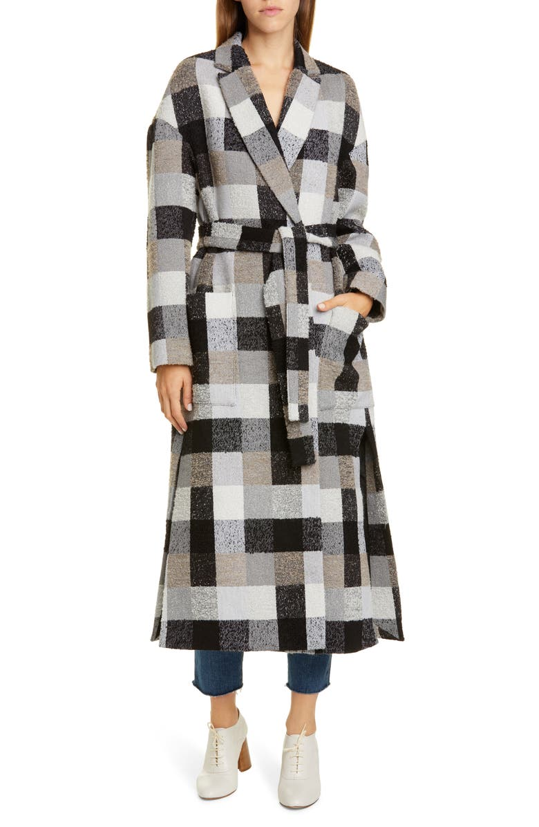 CO Check Wrap Coat, Main, color, GREY